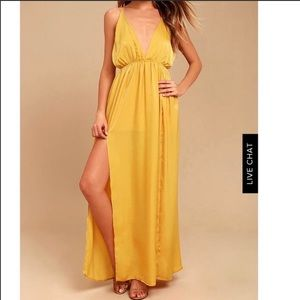 Uncharted Waters Mustard Yellow Satin Maxi Dress